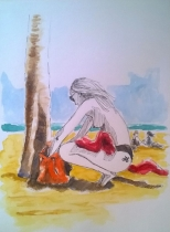 1803 Tulum beach bike girl by Melanie Franz