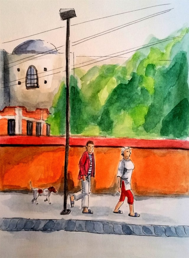 190106 Tourists and dog in malinalco_Melanie Franz