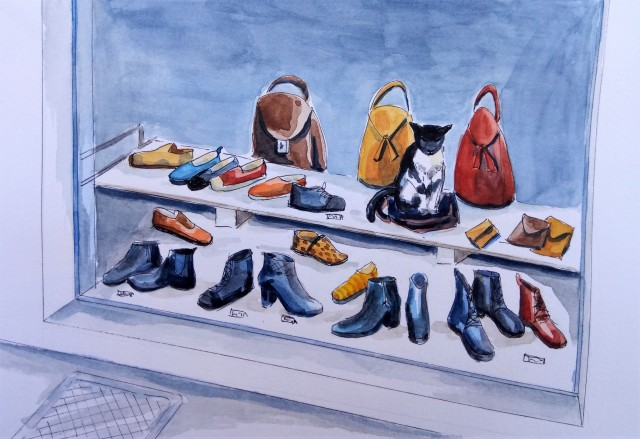 190321 Cat in shoe shop Athens_Melanie Franz