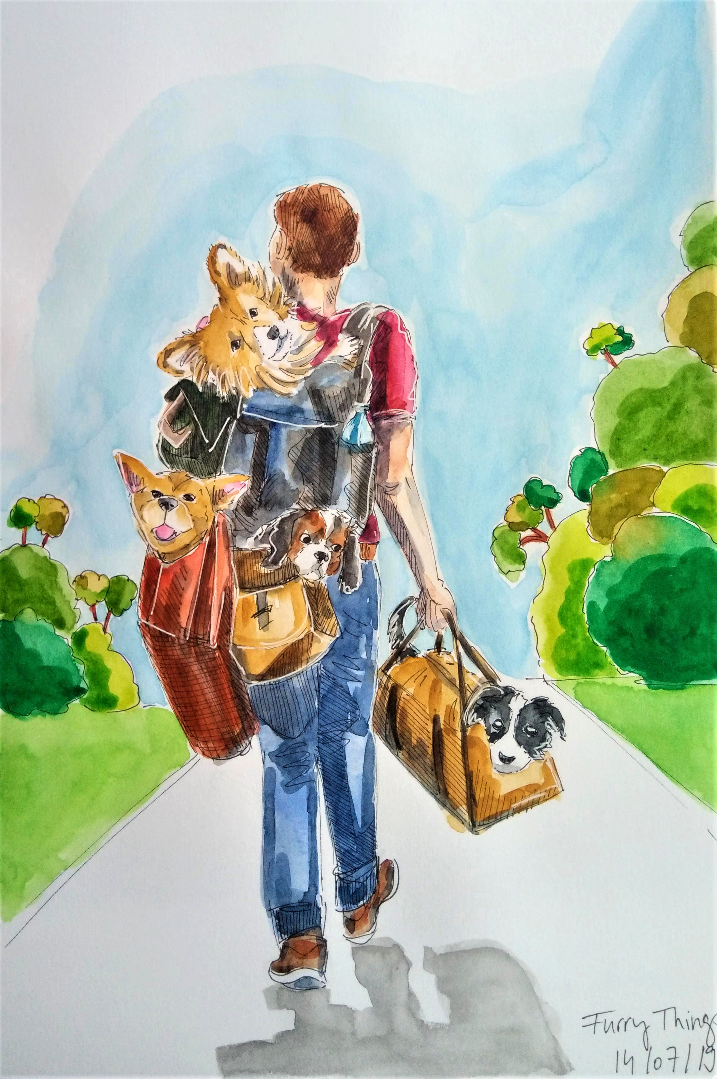 190714 Furry Things_WorldWatercolorMonth_Melanie Franz