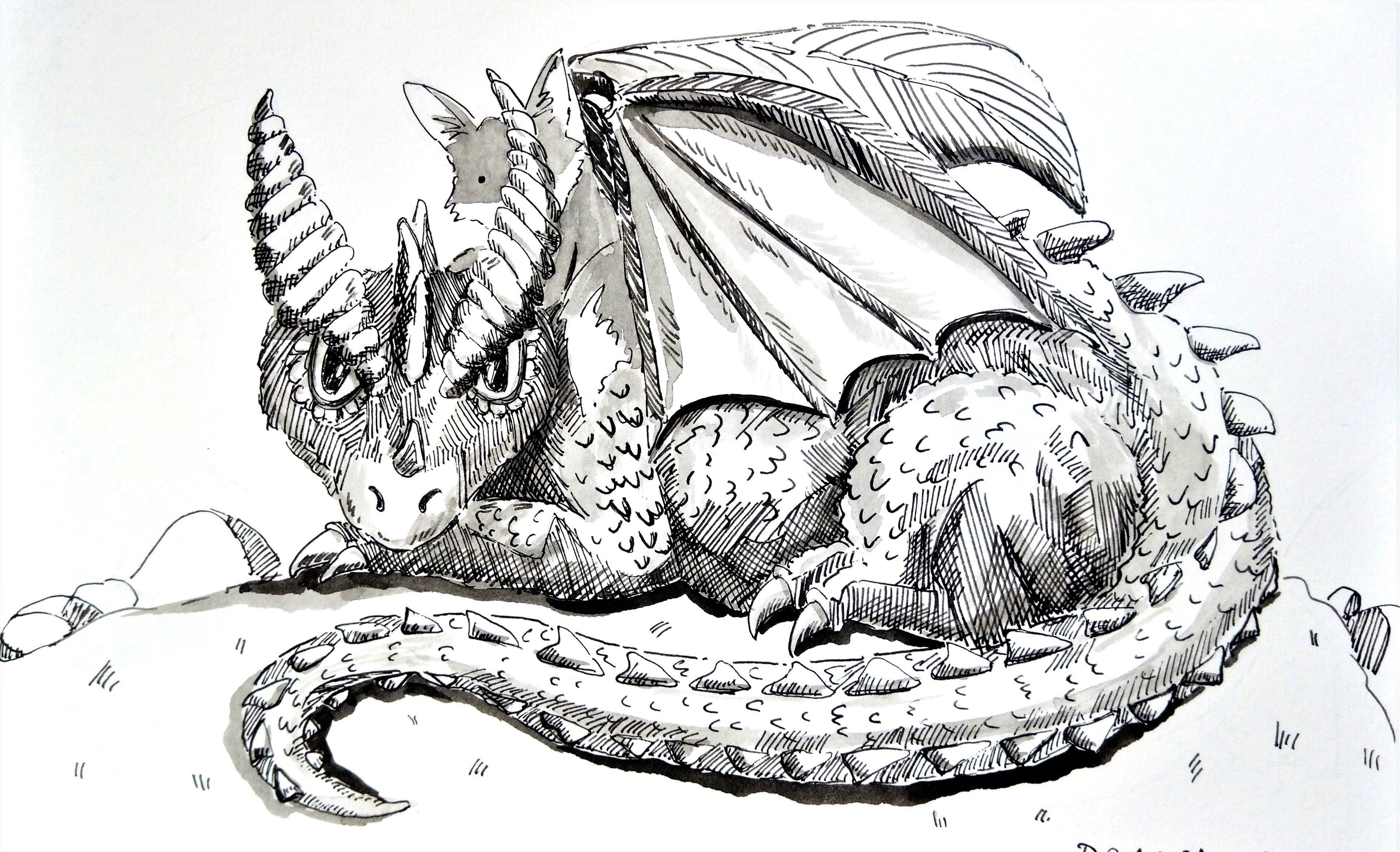 191012 Inktober_Dragon_Melanie Franz
