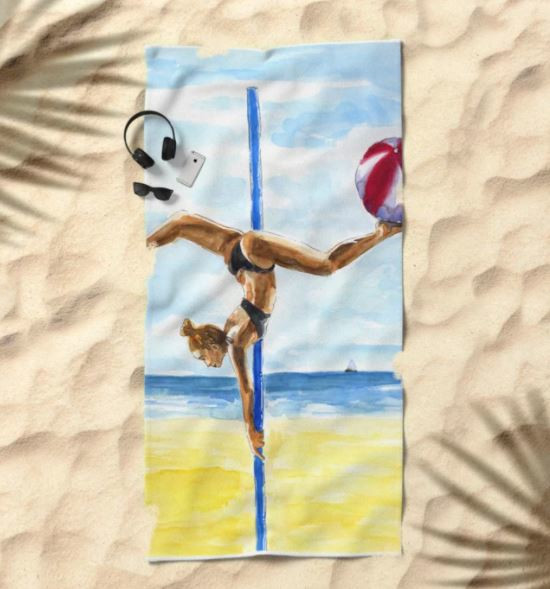 society 6 beach towel Pole Fitness Melanie Franz